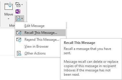 Recalling an email in a few easy steps shown here.